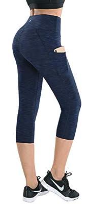 LifeSky Yoga Pants for Women with Pockets High Waist Tummy Control Leggings 4 Way Stretch Soft & Slim Active Leggings, M
