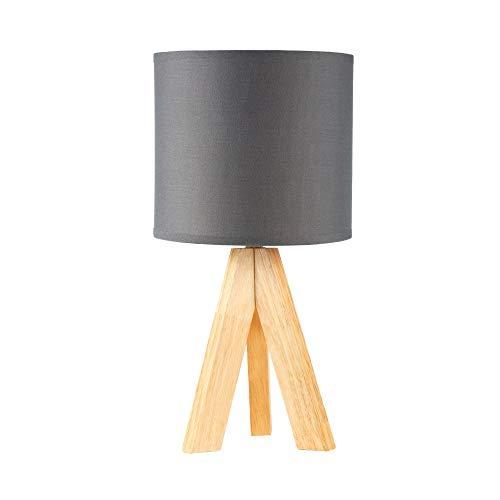 Pauleen 48104 Woody Love Tischleuchte max20W E14 Tripod skandinavische Dreibeinlampe Grau Tischlampe 230V Holz/Stoff