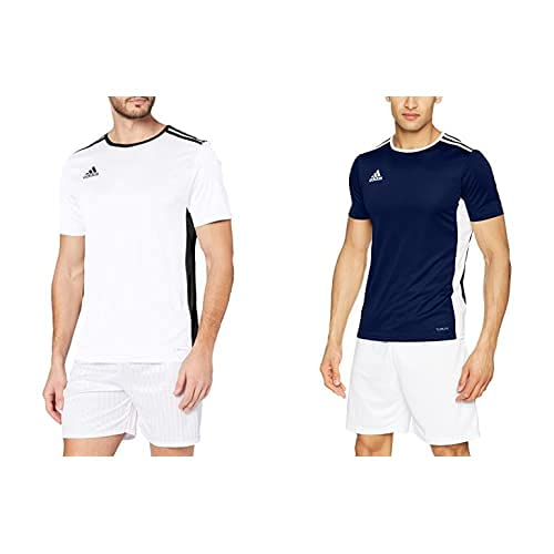 adidas Entrada 18 JSY T-Shirt, Hombre, White/Black, S + Entrada 18 JSY T-Shirt, Hombre, Dark Blue/White, S