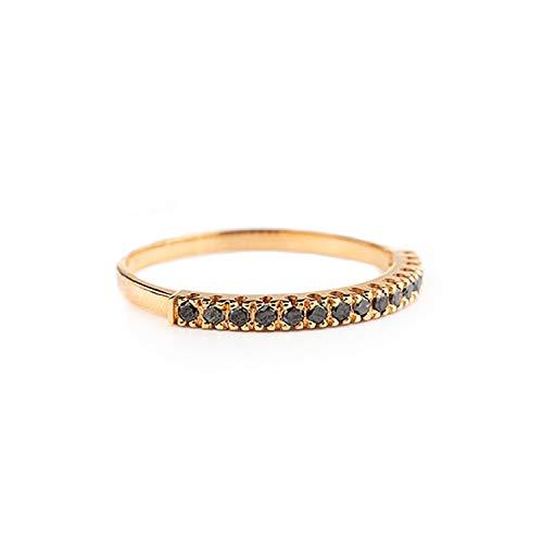 Luppino - Anillo de compromiso para mujer de oro rosa de 18 quilates 750 y diamantes negros naturales de 0,08 ct