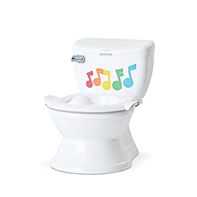 Summer My Size Potty Lights and Songs Transitions, White – Realistic Potty Training Toilet – Features Interactive Toilet Handle, Removable Potty Topper and Pot, Wipe Compartment, and Splash Guard from Summer Infant