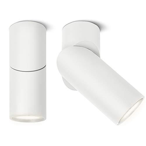 SSC-LUXon TOBI-L 2 Stück Aufbaustrahler weiß mit led gu10 lampe wechselbar 6w neutralweiß 230v - Deckenspot Wandspot schwenkbar