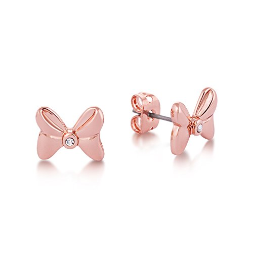 Disney Minnie Mouse Rocks Rose Gold-Plated Crystal Bow Stud Earrings by Couture Kingdom
