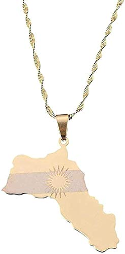 POIUIUYH Co.,ltd Collar de Acero Inoxidable Color Dorado Kurdistan Map Collares Pendientes Bandera kurda Charm Jewelry