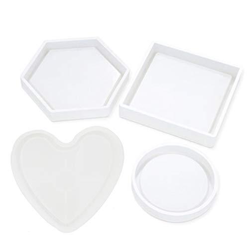 Silikon-Untersetzer-Formen aus Epoxidharz, inklusive runder, quadratisch, sechseckig, Herz-Untersetzer zum Herstellen von Untersetzern, Kerzenhaltern
