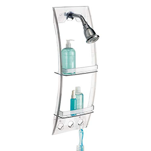 iDesign Plastic Grand Arc Bathroom Suction Shower Caddy for Shampoo, Conditioner, and Soap with Hooks for Razors, Towels, Loofahs, 4.1