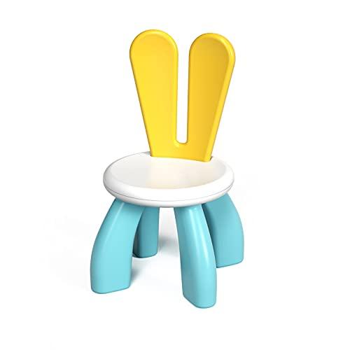 KORIMEFA Silla Infantil de plástico con Respaldo Curvo para hogar y jardín, Mueble para Silla Infantil Que se Puede Montar (Azul)