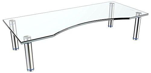 RICOO FS7024-C, TV Board, Tisch-Aufsatz, Klar-Glas, durchsichtig, 70x24x10 cm, Bildschirm-Erhöhung, Hi-Fi Rack, Regal, Bildschirm-Ständer, Podest