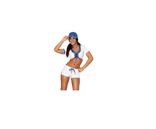 GGT Boutique - Disfraz de árbitro de béisbol Sexy, para Halloween, Cosplay, Mujer, TL7011, Azul/Blanco, One Size UK 6-8