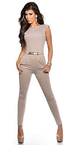 Koucla Damen Overall Jumpsuit Playsuit mit Schnalle (Beige, L)