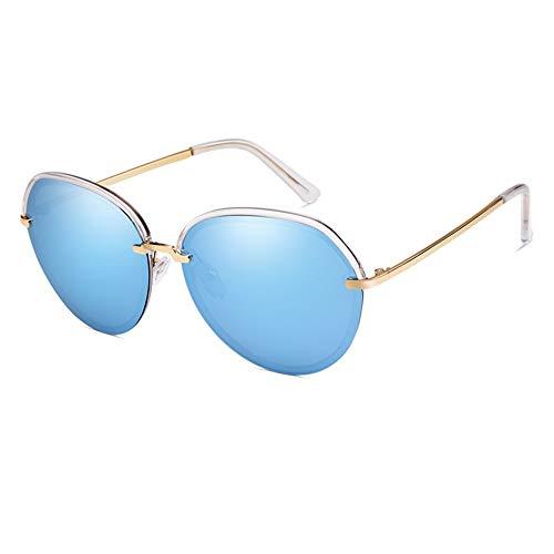 Gafas de sol polarizadas antiultravioletas para mujer, gafas de sol redondas y clásicas, lentes grandes, negro, gris, azul (color: azul)