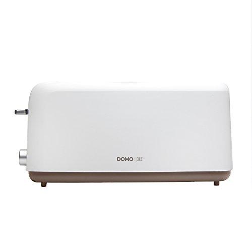 DOMO DO968T Großer 4 Scheiben Familien-Toaster, der Brotröster verfügt über 6 Temperatureinstellungen + Brotlift und Krümelschublade Farbe: weiß