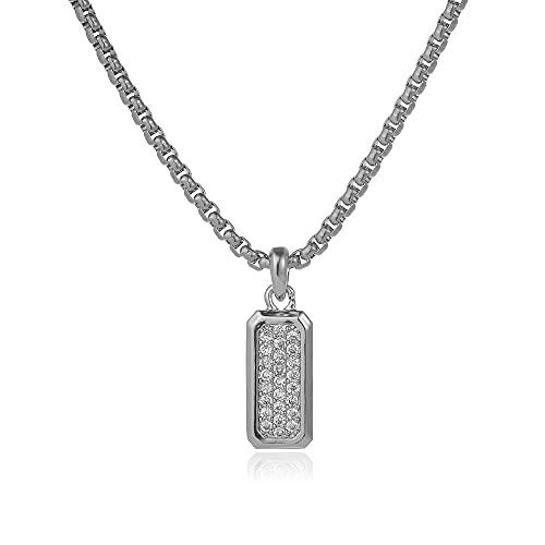 YFAM Collar Colgante de rectángulo de Moda  Ajuste para los Hombres joyería (Length : 50cm, Metal Color : 4)