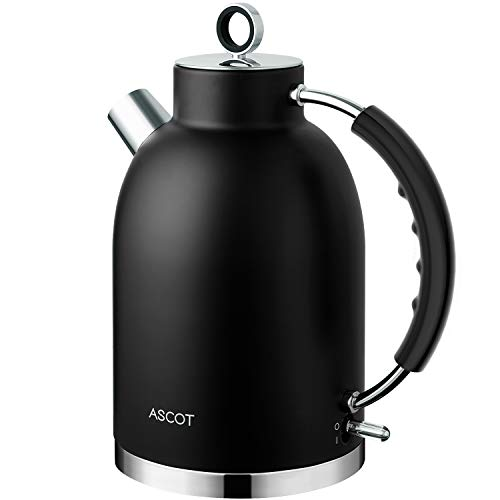 Electric Kettle, ASCOT Stainless Steel Electric Tea Kettle, 1.7L, 1500W, BPA-Free, Cordless, Automatic Shutoff, Fast Boiling Water Heater -Black