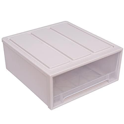 Caja De Ropa De Gran Capacidad Eco-Friendly Thicken Plastic Storage Box Cajón Multifunción Ropa Interior Sujetador Sock Tie Makeup Organizer-Beige 37×25×14 cm