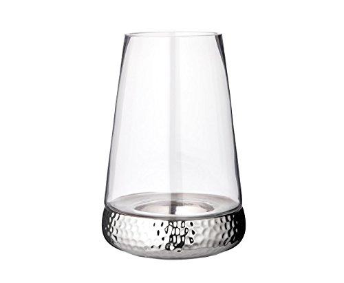 EDZARD Windlicht Bora gehämmert, Höhe 31 cm, Glas mit vernickeltem Keramikfuß