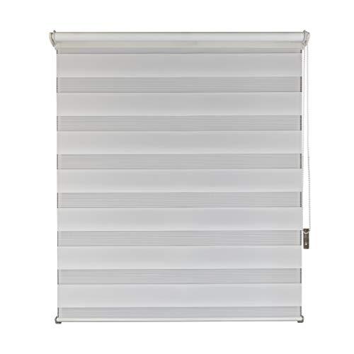 TF F&T Estor Doble Enrollable de poliéster, Blanco, 90 x 160 cm