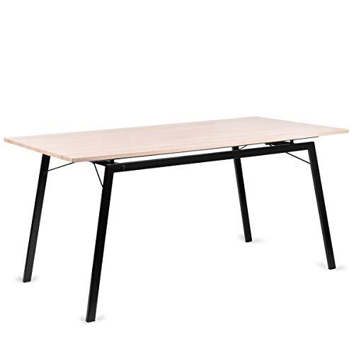 Mesa Rectangular Comedor de madera Natural con estructura de Metal Negro mate, Mesa Cocina Salón Diseño Moderno 160x80x75cm