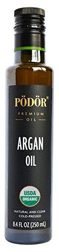 PÖDÖR Premium Organic Argan Oil - 8.4 fl. Oz. - Cold-Pressed, 100% Natural, Unrefined and Unfiltered, Vegan, Gluten-Free, Non-GMO in Glass Bottle