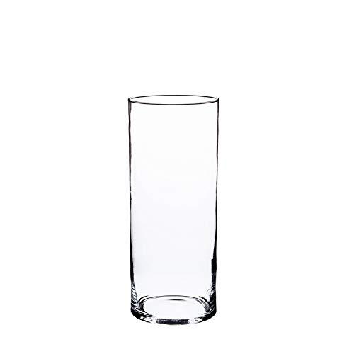 INNA-Glas Zylinder Vase Sansa, transparent, 20cm, Ø 10cm - Windlicht - Tischvase