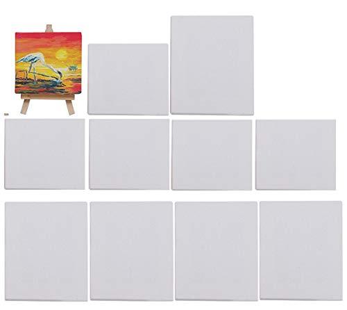 Biluer 10PCS 10 x 10 cm Mini Paneles de lienzo para Pintar Lienzos preestirados And 15 x 15 cm Lienzo De Pintura Lienzo De Arte para Manualidades Dibujo decoración Regalo y educación De Los Niños