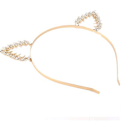 Lurrose Haarreif mit Katzenohren, Kristall, Blatt-Deko, Gold, hart, stilvolles Party-Haar-Zubehör