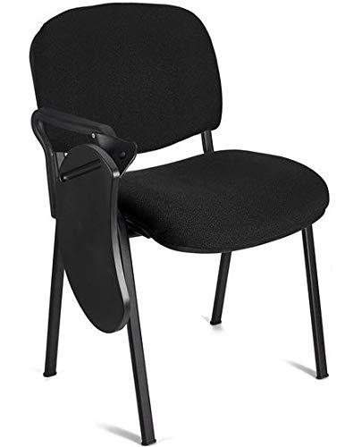 4x Silla tapizada con pala, ideal para academias, autoescuelas. Apilables. Color negro