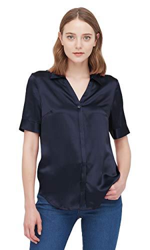 LilySilk Seidenhemd Tunika Shirt Damenbluse Seidenbluse Damen Kurzarm Verpackung MEHRWEG (L, Navy Blau)