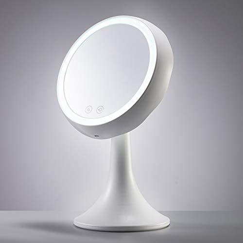 QMMD Lumière avec Miroir De Maquillage LED, Un Miroir De Voyage De Bureau, Filet Femelle Remplissage Rouge Bureau Miroir Portable Léger, Dorm De Bureau Pliante Miroir De Maquillage Portable,Blanc,XS