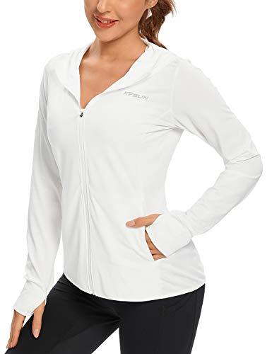 Women's UPF 50+ UV Sun Protection Clothing Zip Up Hoodie SPF Long Sleeve Sun Shirt Fising Hiking Outdoor Performance Jacket(White,M)