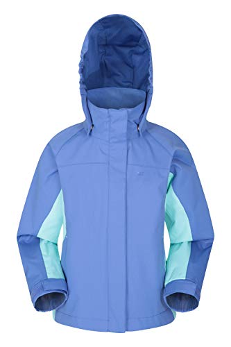 Mountain Warehouse Shelly II Kinderjacke - Wasserfest, versiegelte Nähte, Regenjacke mit verstellbare Bündchen, Taschen - Für Jungen und Mädchen -Camping, Wandern, Frühling Blau 9-10 Jahre