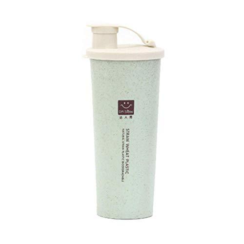 ppting Groene Water Fles Eiwit Poeder Shaker Water Fles Draagbare Reizen Tarwe Rietje Enkele Laag Water Fles 450ml