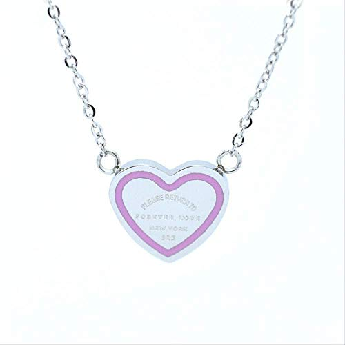 ZHIFUBA Co.,Ltd Collar Pareja para Siempre Amor corazón Colgante Collar Gargantilla Collar Verde/Rosa Flecha Collar Corto para Mujer