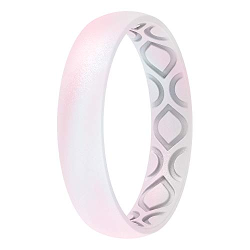ThunderFit Silicone Wedding Bands for Women, Breathable Air Grooves 4mm Width - 1.5mm Thick (White Pink, Size 7.5 - 8 (18.2mm))