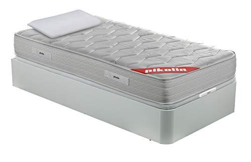 PIKOLIN Pack Colchón viscoelástico Espuma HR 90x190+ canapé Base abatible Blanco y Almohada de Fibra, Incluye Subida a Domicilio, Montaje y Retirada de Usado