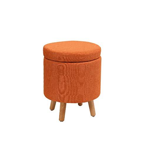 KJLY Taburete de pie, Ropa de Almacenamiento Redondo de Ropa de Cama, Sala de Estar Sala de Entrada Zapato de Dormitorio Taburete de Madera Maciza, 32 * 32 * 40 cm (Color : Orange)