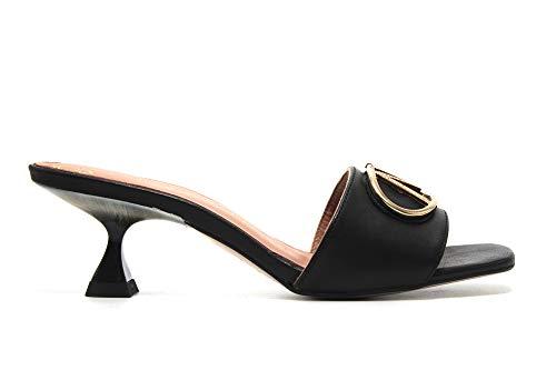 PEDRO MIRALLES - Sandalia de pala, tacón bajo de aguja, de piel, suela de goma, para: Mujer color: NEGRO talla:39