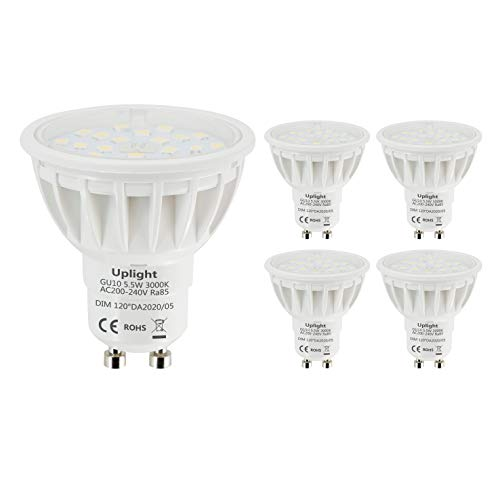 Uplight 5.5W Regulable Bombillas LED GU10,Blanco cálido 3000K,Equivalente 50-60W Halógena,600lm Ra85,120°Angulo de haz,5 Piezas.