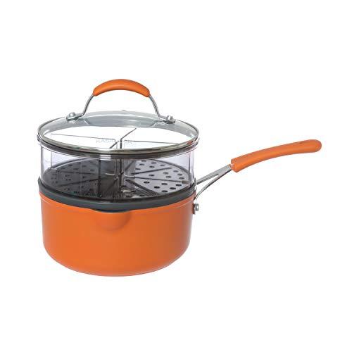 Casseruola arancione con vaporiera con manico e coperchio Arancione trasparente