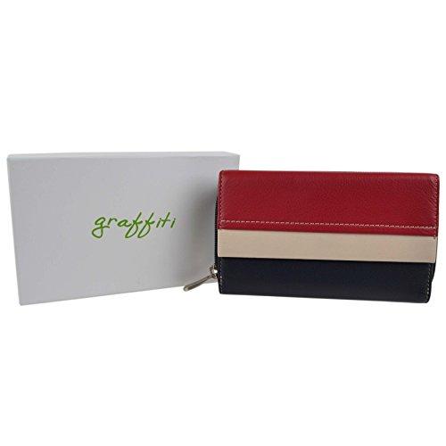 Damen Leder Reißverschluss Tri-Fold-Geldbörse Portemonnaie von Golunski Graffiti in Geschenkbox