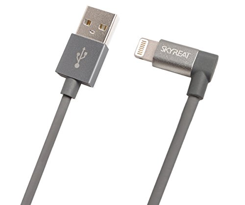 Skyreat Lightning auf USB Kabel [Apple MFi Certified] USB Ladekabel 90 Grad Winkelstecker USB 35cm Nylon Metall Gehäuse USB Datenkabel Perfekte kompatibel mit DJI Mavic Mini/2 Pro / Mavic 2 Zoom/Air