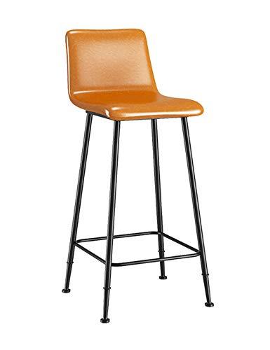 MYAOU Taburete de Barra de Metal para Cocina, taburetes Altos con Respaldo, sillas de mostrador de Piel sintética, Taburete para Sentarse, Adecuado para mesas de Barra de Desayuno, 65 cm / 75 cm