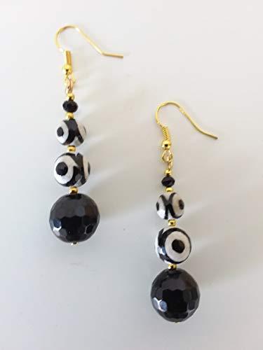PENDIENTES blanco, negro, dorado - OJO - piedras semipreciosas - ágata - idea de regalo hecha a mano - mujer
