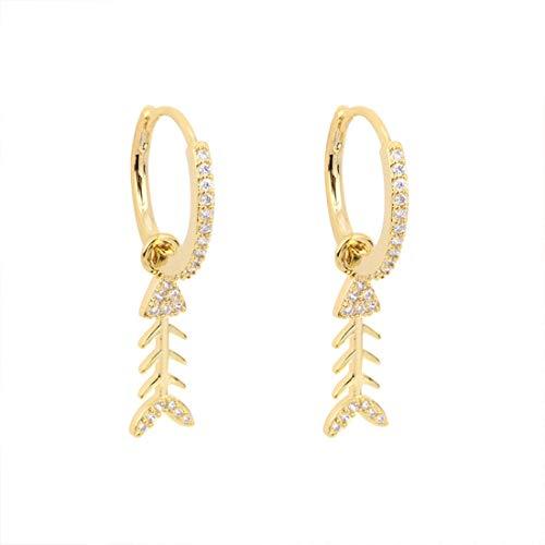 Ms. Swan Pendientes creativos con forma de pez con diamantes, de oro pequeño, pendientes de aro para mujeres y niñas