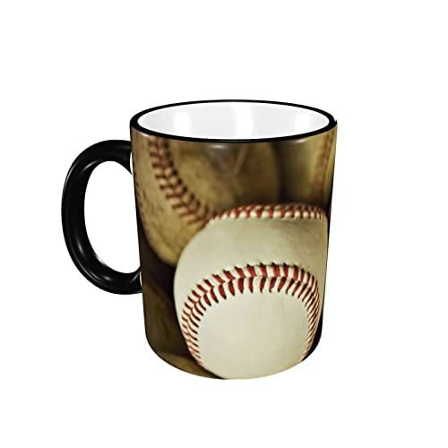 Taza de café con diseño de bandera de béisbol vintage, taza de cerámica con mango taza de té taza de café taza de café taza de café regalo para hombres mujeres oficina trabajo
