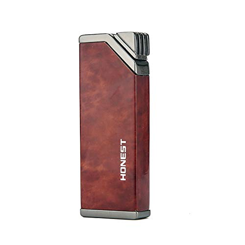PROMISE Jet Torch Cigar Lighter, Single Flame Windproof Butane Fuel Cigarette Lighter (Brown Grain)