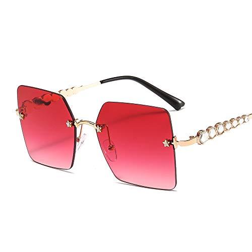 ZJMIYJ zonnebril, vierkante randloze zonnebril vrouwen nieuw merk Fashion Strass metaal brilmontuur grote beroemdheid kleurtinten voor mannen gouden frame bruin
