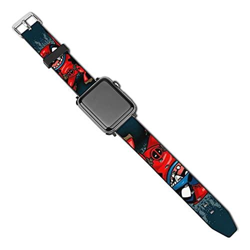 Deadpool Stitch - Correa de piel compatible con Apple Watch Band de 38 mm, 40 mm, 42 mm, 44 mm, suave piel deportiva elástica para mujeres y hombres, compatible con iWatch Series SE 5/4/3/2/1
