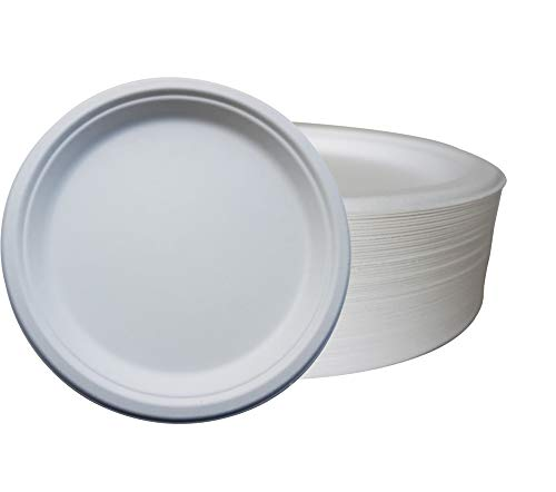 Extra Strong 7inch (18cm) Bagasse Plates | 50 Pack | Paper Plates Alternative | Biodegradable | Disposable Paper Plate | Perfect for Dinner Plates, Parties, Picnic Table, Camping and BBQ