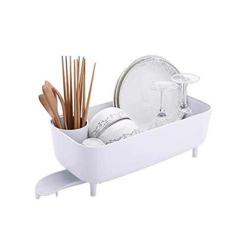 GWM Support en Plastique pour Vaisselle et égouttoir, égouttoir avec Support à Couverts Amovible pour égouttoir à Bec, pour comptoir de Cuisine, Blanc